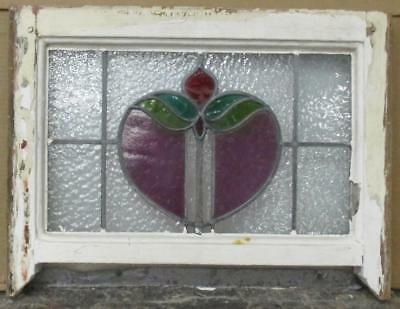 "OLD ENGLISH LEADED STAINED GLASS WINDOW Nice Floral w/ Legs 20.5"" x 15.5"""
