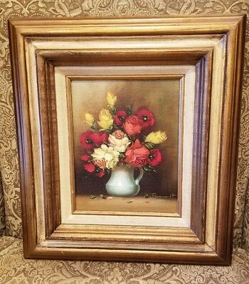 Antique Small Floral Oil Painting of Roses on Canvas/Wood Panel Signed by Artist
