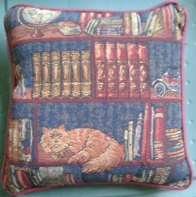 """Yellow Cat on Bookshelf Tapestry Throw Pillow *Rich Colors* 10""""x10"""" Library"""