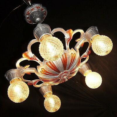 Vintage Deco Cast Metal Ceiling Light Chandelier Fixture 1930
