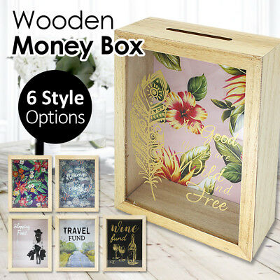 Wooden Money Saving Box Donation Glass Display Bank Wide Slot For Cash Coin