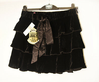 789da18807 Black Velvet Juicy Couture Wrap Ruffle Tiered Layered Rara Skirt Size Small  (10)