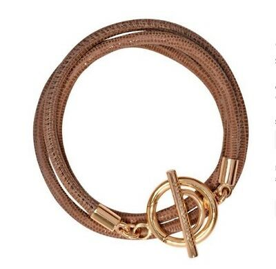 NEW Nikki Lissoni Leather Bracelet Beige Brown Gold Clasp BLCG05 19cm Size