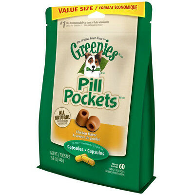 GREENIES - Pill Pockets Capsules Chicken Flavor Dog Treats - 60 Chews