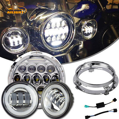 "7"" 75W Chrome LED Projector Daymaker Headlight Passing Lights For Harley Touring"