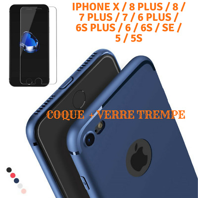 Coque TPU Ultra Slim Anti Choc Hybride iPhone X/8/76/PLUS/5/SE + Verre Trempé