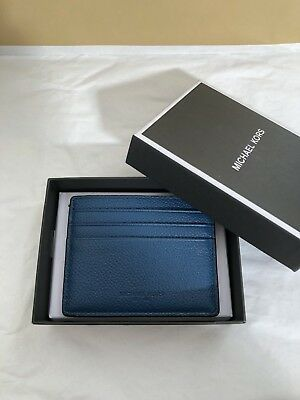 86769dffeb299 NWT Michael Kors Mens Russel Soft Leather Tall Card Case Wallet Ocean Blue   48
