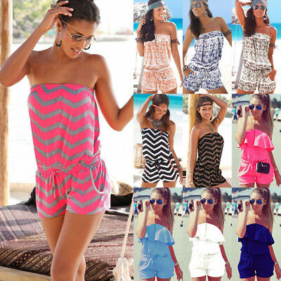 Boho Womens Off Shoulder Strapless Playsuit Ladies Summer Beach Shorts Jumpsuit