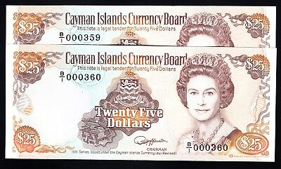 Cayman Islands 25 Dollars $25 1991 UNC Consecutive Pair P. 14 Low # 359/360 QEII