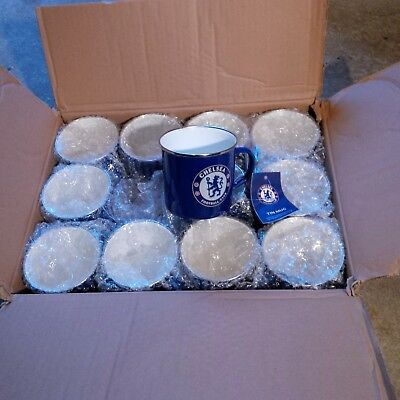48 x Chelsea Enamel Tin Mugs + Official Merch + Football Wholesale/Job Lot/Bulk