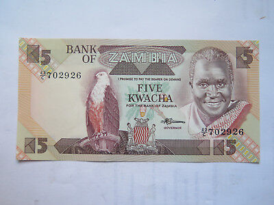 BANK of ZAMBIA 5 KWACHA BANK NOTE EXCELLENT UNCIRCULATED CONDITION c1990s