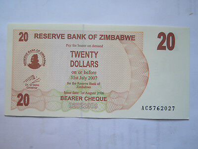 BANK of ZIMBABWE 20 DOLLAR BANK NOTE EXCELLENT UNCIRCULATED CONDITION 2007
