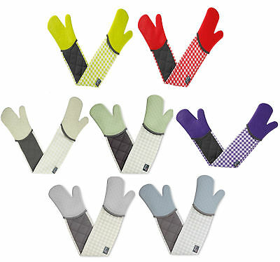 Zeal By CKS Double Oven Gloves Waterproof GINGHAM Check Steam Stop Silicone