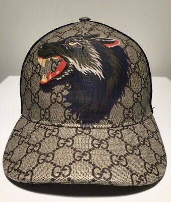 ae11ed135f3f0 GUCCI GG SUPREME Monogrammed Wolf Cap Size M - EUR 240