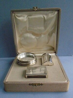 Vintage Six Piece Cased Italian Sterling Silver Smoking Set by SETTEPASSI