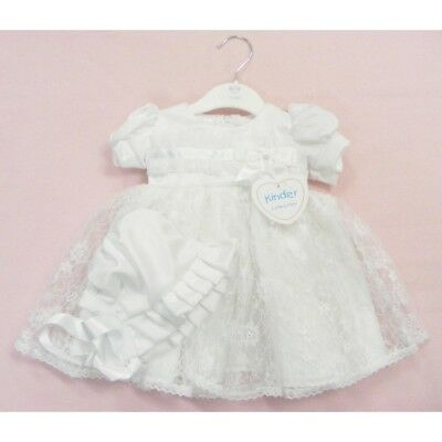 Kinder Baby Girls Lace Organza Pleat & Bow Christening Occasion Dress & Bonnet