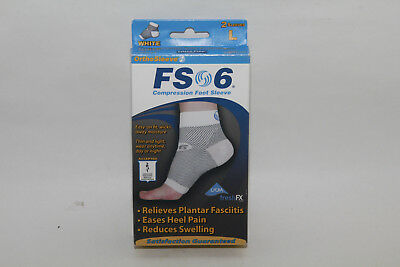 NEW OrthoSleeve FS6 Compression Foot Sleeve, White, 1 Pair, Large  Free Shipping