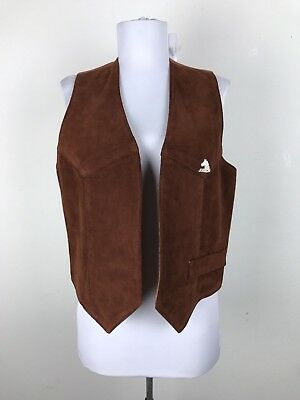 Vintage 1980s Jordache Vest Size M Horse Decal Leather Orange Brown Cowgirl