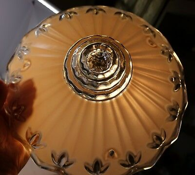 Satin Pink Glass Hanging Ceiling Light Shade Vintage Art Deco Beehive Scalloped