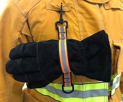 Quick Release Glove Strap with reflective Trim Firefighter Turnout Gear - Orange