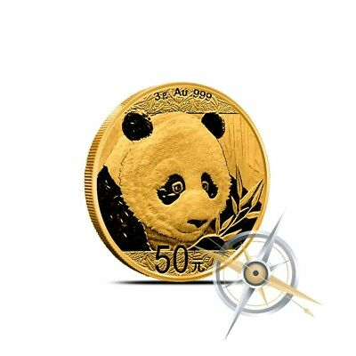 2018 China 3 Gram .999 Fine 50 Yuan Gold Panda Coin BU - Sealed in Mint Plastic
