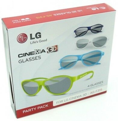 LG AG-F315 PARTY PACK 4pcs for Cinema 3D Glasses Works on ANY TV with PASSIVE 3D