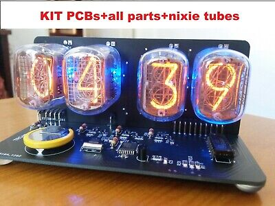 Nixie Tube clock KIT with IN-12 Tube LED Blue Backlight Black PCB