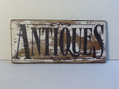 "Schild Holz ""ANTIQUES"", weiß, Shabby-Style, Puppenstube, 1:12"