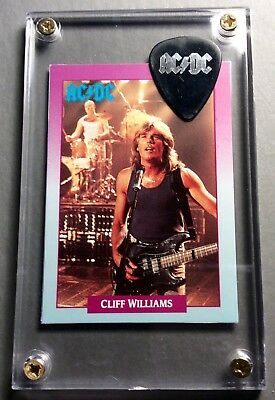 LOOK - AC/DC Cliff Williams trading card / silver on black promo pick display!