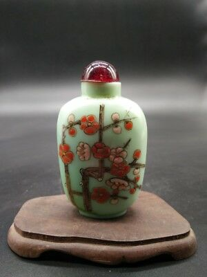 Hand-painted Vintage Chinese Snuff Bottle With Plum Flower 2.6'' tall 2.4''wide
