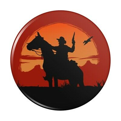 Cowboy on Horse with Red Sunset and Gun Button Refrigerator Magnet