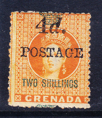 GRENADA QV SG41 4d POSTAGE on 2/- orange- 4mm between value +postage m/m cat £50