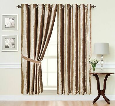 Curtains Ring Top Eyelet Ready Made FullyLined Crush Velvet Champagne Gold