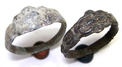 Ancient medieval lot of 2 small cast bronze rings