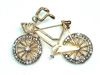 "Bicycle Rhinestone Brooch pin 2""x 1.5"" GIFT gold tone Christmas gift idea #5"