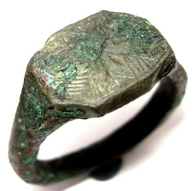 Ancient medieval massive decorated bronze Ring