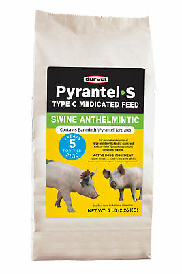 Pyrantel-S Swine Anthelmintic Removal & Control of Large & Nodular Worm 5Lbs