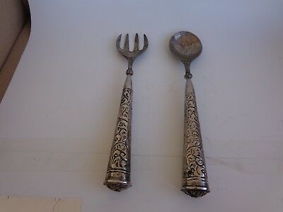 Two 12 Inch Long Metal Salad Fork And Spoon , With ,designed Tapered Handles