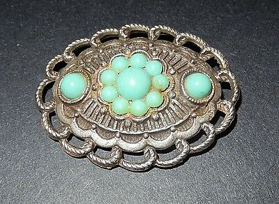 Silver Tone Filigree Faux Blue Turquoise Brooch