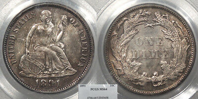 1891 Seated Liberty 10 Cents (Dime) PCGS MS-64