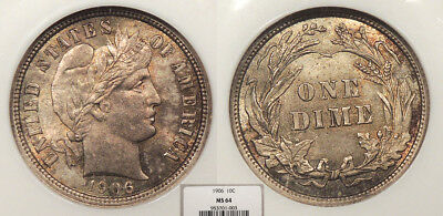 1906 Barber 10 Cents (Dime) NGC MS-64