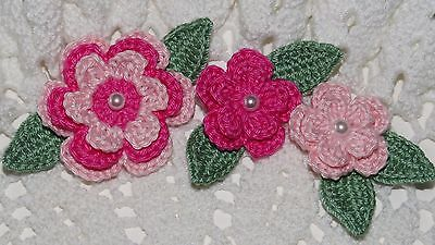 Two Tone Crocheted Flowers & Leaves Applique - BLUSH PINK/ROSE  PINK - 9 Pcs