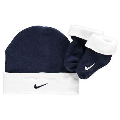 Nike Baby Girls Boys Hat Set Beanie Socks Booties NAVY Newborn 0-6 Months Gift