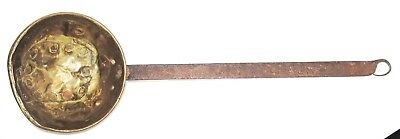 18th / 19th C. OLD PRIMITIVE EARLY WROUGHT IRON & COPPER LADLE HEARTH UTENSIL