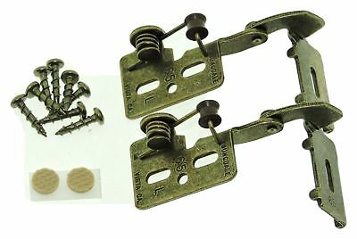 "2 FULL WRAP Self Closing Cabinet Hinge 1/2"" Overlay Antique Brass Youngdale #65L"