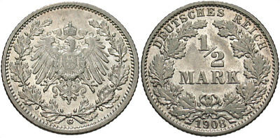 GERMANY: 1908 G 1/2 Mark #WC69576