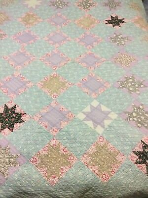 Vtg Feed Sack 8 Point Star Quilt Machine Pieced Hand Quilted Early 1900s 68 X 76