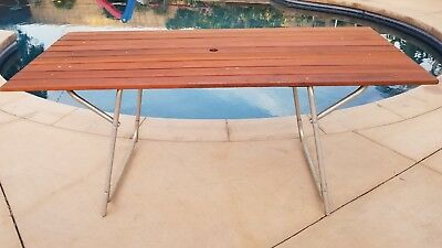 Awe Inspiring Vintage Redwood Aluminum Outdoor Patio Picnic Table Fold Up Uwap Interior Chair Design Uwaporg