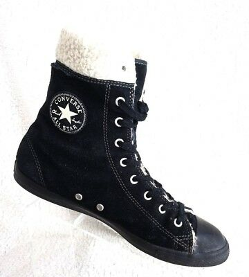 Converse Chuck Taylor All Star Dainty Suede Leather Shearling Black Sz 9  Boots 3d6bbbe7e