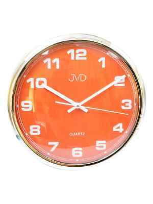 JVD ha4.3 Wall Clock Quartz Analog Retro Design Round in Red/Silver